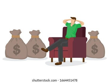 Casual man relaxing at home in his couch with bags of money. Concept of profitable freelance business, investment guru or online entrepreneur. Flat isolated vector illustration.