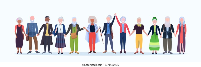 casual mature men women standing together smiling senior gray haired mix race people wearing trendy clothes male female cartoon characters full length flat white background horizontal