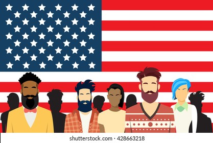 Casual People Group Crowd Over United States Of America Flag Vector Illustration