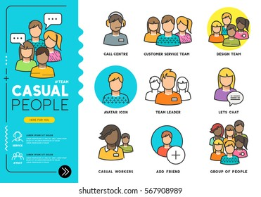 Casual People. Profiles of everyday men and women in various job roles in everyday clothes. Vector illustration line icons.