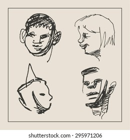 Casual portrait of  man, women and boy or girl, in doodle etching sketch hand drawing style