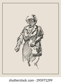 Casual portrait of old women, in doodle engraving etching sketch hand drawing style