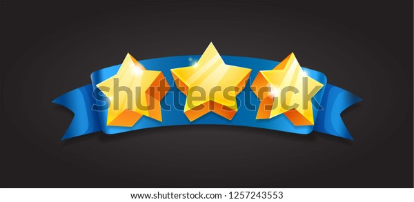 Casual Ribbons Levels Stars Assets Game Stock Vector