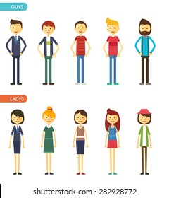 casual set characters for use in design. vector flat illustration