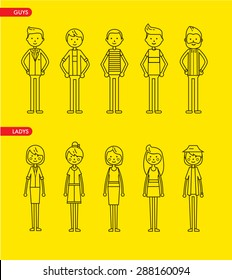Casual set characters for use in design. vector flat illustration. Line art style