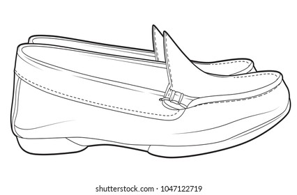 Casual Shoes Men Without Ropes line draw Side View