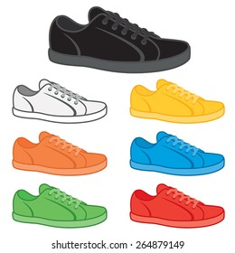 Casual sneakers in a variety of basic colours.