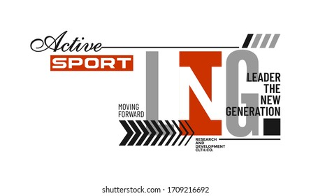 Casual sport stylish typography slogan for t-shirt. Leader The New Generation. Abstract design with the grunge and denim style. Vector print, typography, poster. Global swatches.