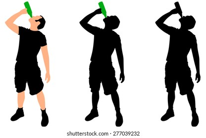 Casual young man drinking bottle of beer, vector