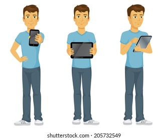 Casually dressed happy cartoon man with technology, holding out a touch screen phone, showing and using a digital tablet