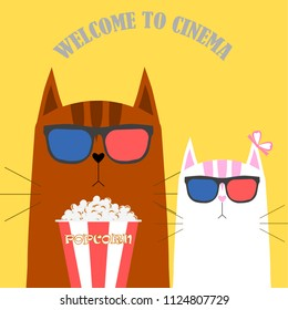 296e8bd8ad4 White Cat Eating Popcorn Cinema Theater Stock Vector (Royalty Free ...