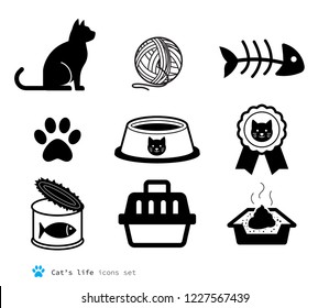 Cat accessories set. Animal silhouette and pet supplies