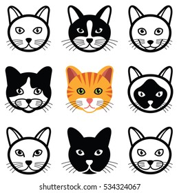 Cat animal cartoon face icon collection - vector illustration