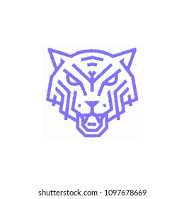 the cat animal logo on a white background blue lines