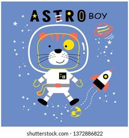 cat the astro boy funny animal cartoon,vector illustration