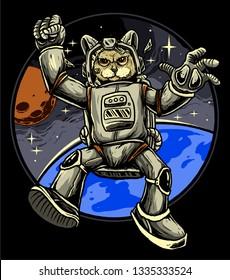 cat astronaut galaxy vector design
