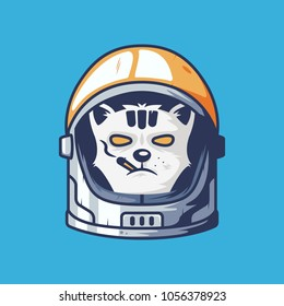 Cat astronaut head illustration for esport logo or tshirt. cat with astronaut helmet