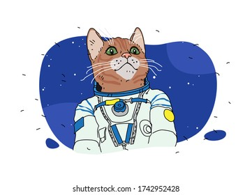 A cat astronaut illustration. Vector. Pussy in space. Cartoon animal.