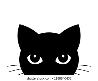Cat attack. Cute black cat face. Vector illustration