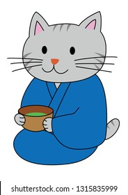 Cat attending to tea ceremony japan