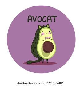 cat avocado vector