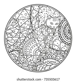 Cat. Background. Circle mandala. Hand drawn cat with abstract patterns on isolation background. Design for spiritual relaxation for adults. Black and white illustration for coloring. Zentangle