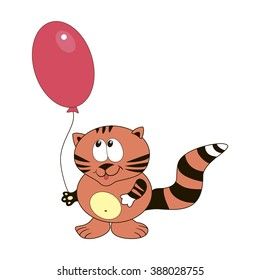 Cat with balloon. Vector illustration