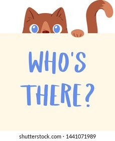 Cat banner vector kitten character peeking behind cardboard kitty holding copy space message poster illustration set of pussycat pet animal advertising isolated on background