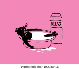 The cat is bathed in milk. Sketch of a cat on a pink background. Vector illustration for posters, T-shirts, postcards, children's books, magazines.