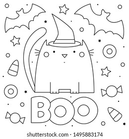 Cat and bats. Coloring page. Black and white vector illustration