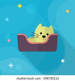 Cat bed icon , Vector flat long shadow design.