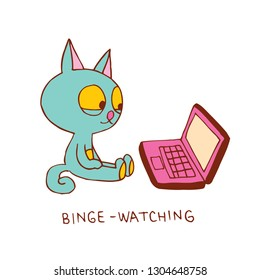cat binge watching