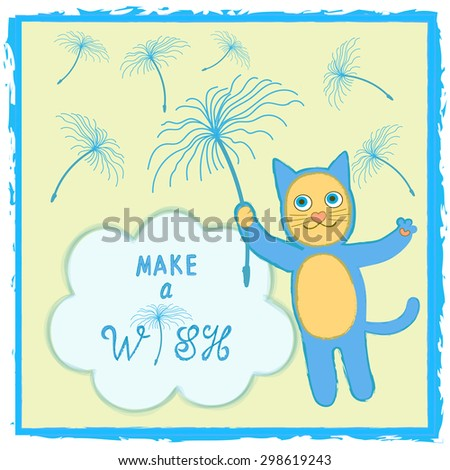 Cat Birthday Card Template Cute Smiling Cartoon Character Floating Through Dandelion Seeds And Blue Cloud With Positive Thinking Message Text Make A