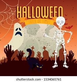 cat black with moon and icons in scene halloween vector illustration design