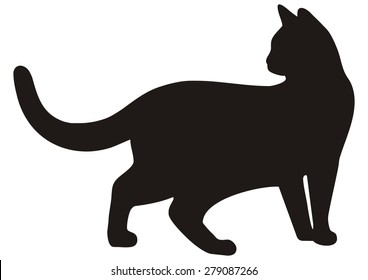 cat, black silhouette, vector icon
