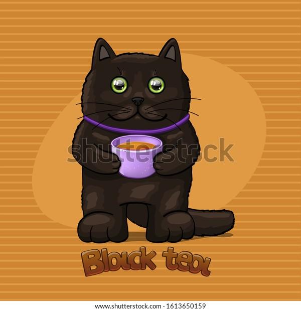 Cat with black tea. Vector Illustration