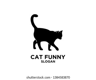 cat black white white isolated background logo icon designs vector illustration sign silhouette