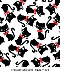 cat bow seamless vector pattern