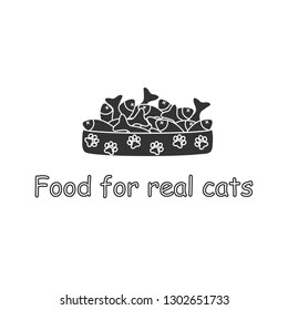 Cat bowl filled with fish. Vector illustration. natural product, Canned, dry food. Logo, Background.