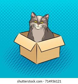 Cat in box pop art retro vector illustration. Comic book style imitation.