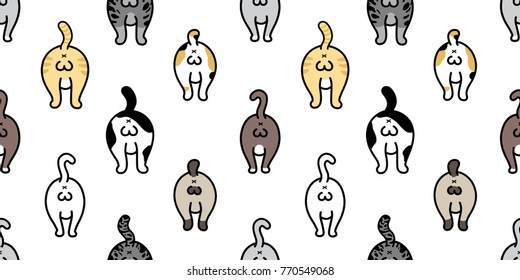 Cat breed kitten butt ball of cat doodle vector Seamless Pattern background wallpaper