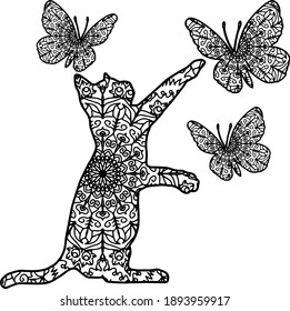 Cat with butterflies mandala, vector drawing of cat butterflies, sublimation and design, for printing on T-shirts, mugs, postcards. Page for coloring