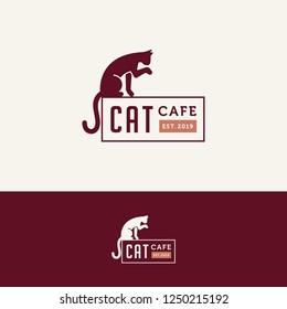Cat cafe logo. Silhouette copper cat logotype. Sitting flat template
