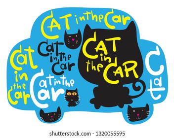 Cat in the Car Cat Vector for Car