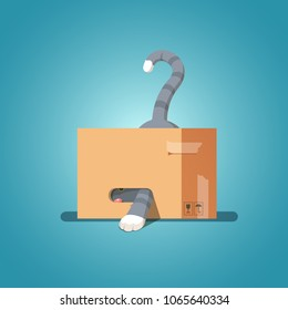 Cat in a cardboard box pulled out his paw. Kitty inside carton box. Playful curious cat pet looking out of his hiding. Flat style vector character illustration