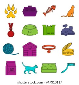 Cat care tools icons set. Doodle illustration of vector icons isolated on white background for any web design
