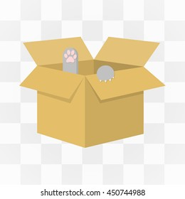 Cat in a carton box icon cartoon. One icon of a large cat theme collection.