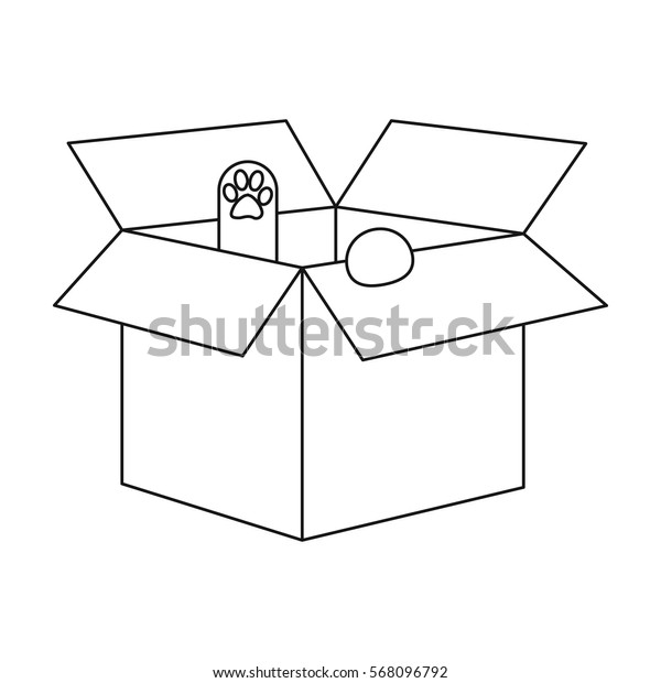 Cat in a carton box icon of vector illustration for web and mobile