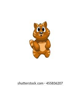 Cat Cartoon Character. Emotion: shocked