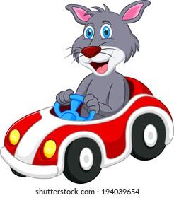 Cat cartoon driving car
